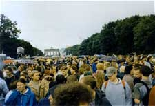 Photo of the Hanfparade demonstration rally 1998 in front of Brandenburger Tor in Berlin, Germany