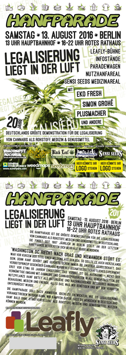 Flyer of Hanfparade 2016 in Berlin, 13th of August 2016