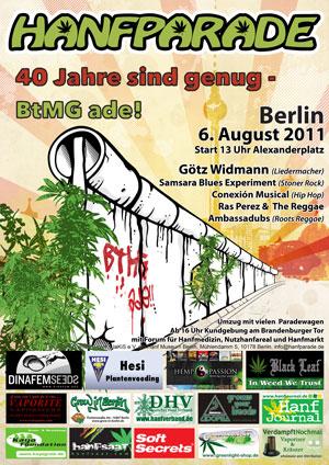 Grafik Poster der Hanfparade 2011 - BtMG ade