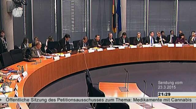 Foto aus dem Stream: Bundestag Sitzung des Petitionsausschuss zu Cannabis als Medizin