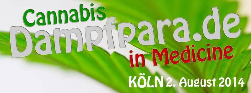 """Banner der Dampfparade 2014 mit dem Slogan """"Cannabis in Medicine"""""""