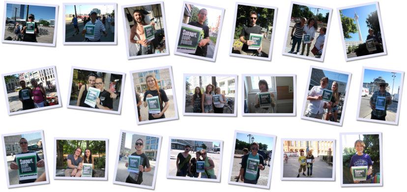 """Polaroid-Ansicht von Fotos von Passanten mit hochgehaltenem """"Support. Don't Punish.""""-Schild"""