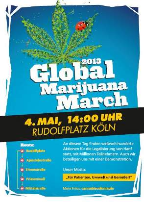 Plakat des 2013 Global Marijuana March in Köln