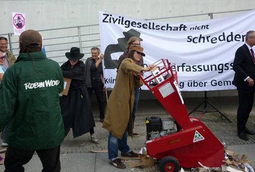 Foto von der Aktion vor dem Bundestag