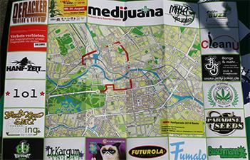 Hanfparade 2014 Stadtplan von vorne