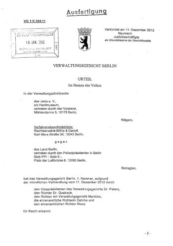 "Titelblatt des Urteils ""Hanfparade 2011 vs. Versammlungsbehörde"""