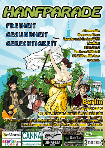Grafik Flyer der Hanfparade 2012 in Berlin - Cannabis Legalize Demo