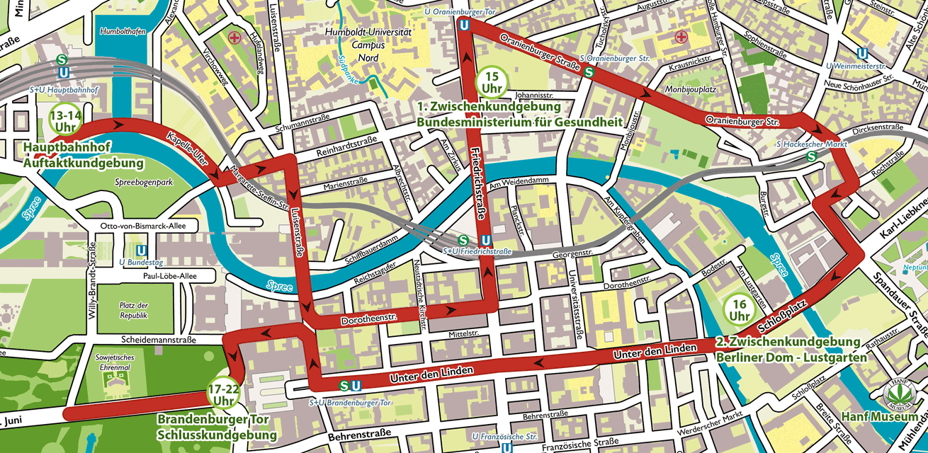 Route Hanfparade 2015 - Berlin
