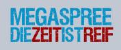 Megaspree Logo mit dem Slogan - Die Zeit ist reif