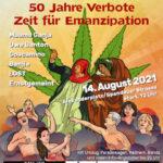 Hanfparade 2021 Flyer Grafik 50 Jahre Verbote - Zeit für Emanzipation