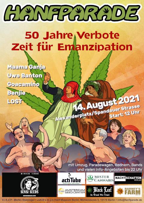 Hanfparade 2021 Demo flyer graphics