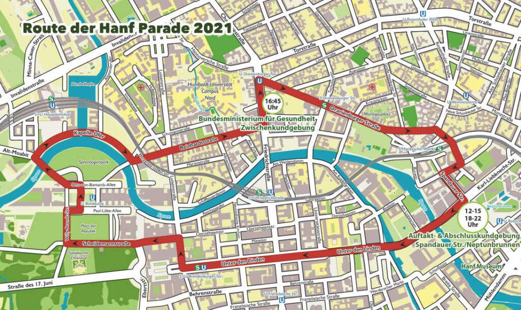Route der Demonstration Hanfparade in 2021