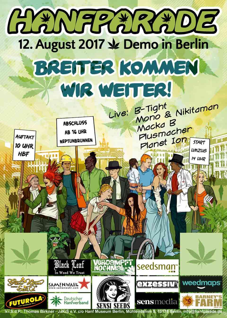 Poster der Hanfparade 2017 - Breiter kommen wir weiter