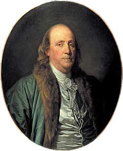 Benjamin Franklin in einem Gemälde von Jean-Baptiste Greuze