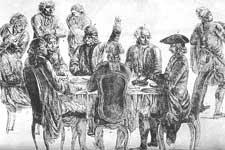 Kupferstichzeichnung von Voltaire und Diderot im Cafe Procope