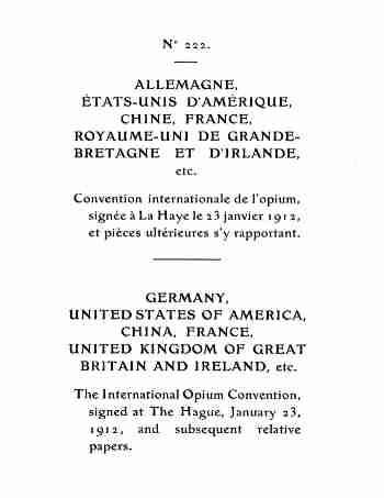 Grafik Scan des Opiumgesetzes von 1912 - Convention international l'opium