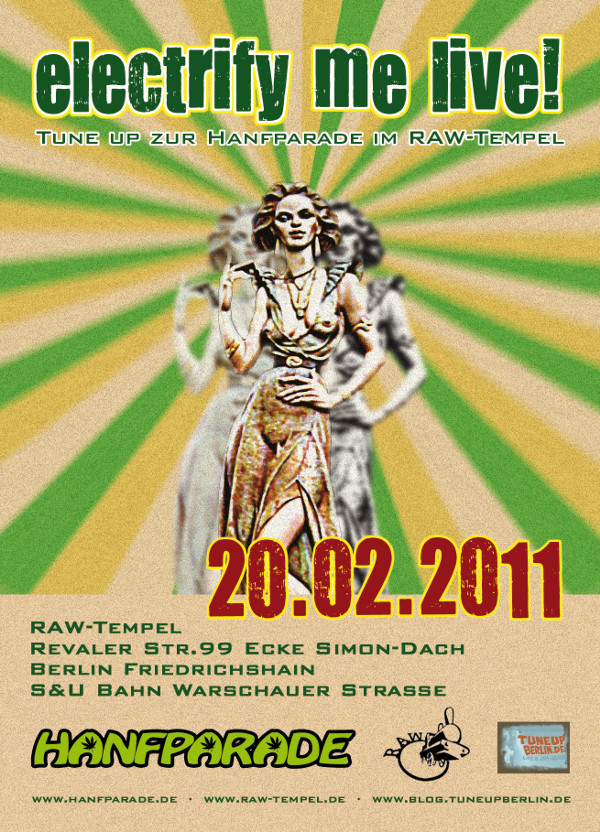 Flyer zur electrify me live! Soundsession am 20.02.2011 im RAW-Tempel (Stenzerhalle) Berlin