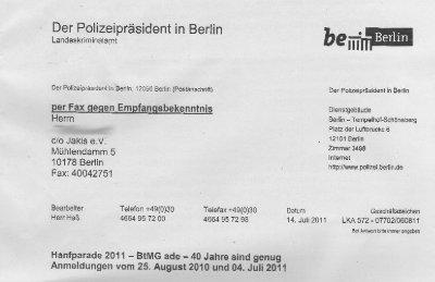 Kopf eines Briefes aus dem Büro des Polizeipräsidents in Berlin an die Hanfparade