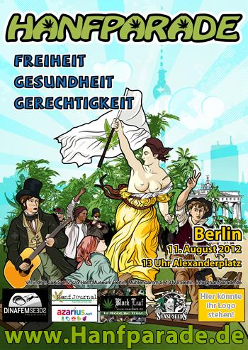 """Flyer- und Postermotiv der Hanfparade 2012, angelehnt an """"Die Freiheit führt das Volk"""" (französisch: La Liberté guidant le peuple), Gemälde des französischen Malers Eugène Delacroix"""