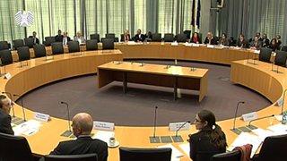 Foto von der Cannabis-Anhörung im Bundestag (Sicht auf die Vorsitzende und Politiker)