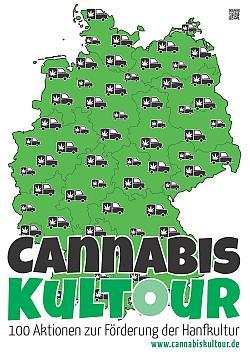 Poster der Cannabiskultour durch Deutschland, 250 Pixel