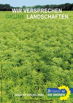 Wir versprechen grüne Landschaften - Wahlplakat der Grünen zur Bundestagswahl 1998