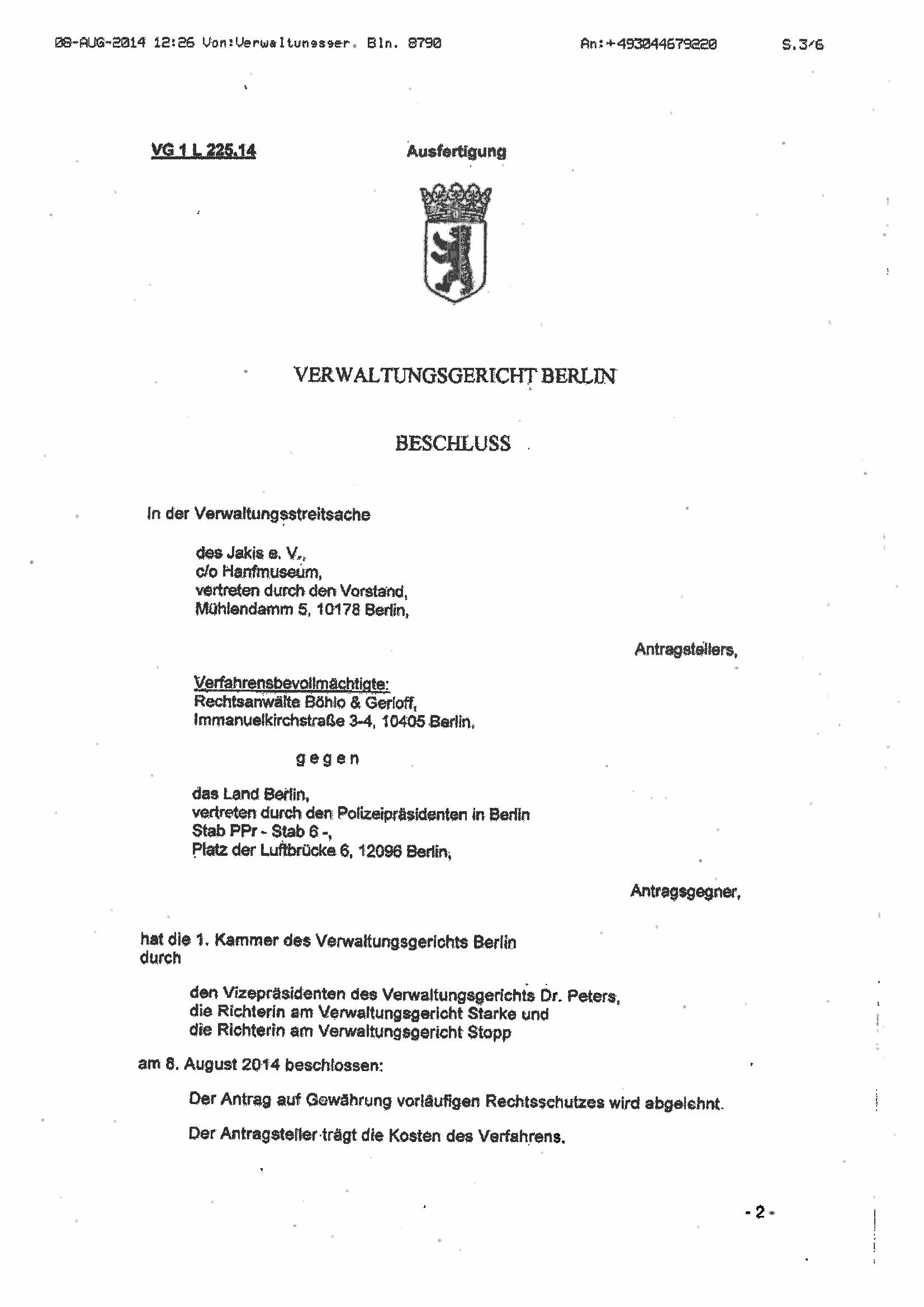 Scan von Seite 1 des Beschlusses des Verwaltungsgerichts