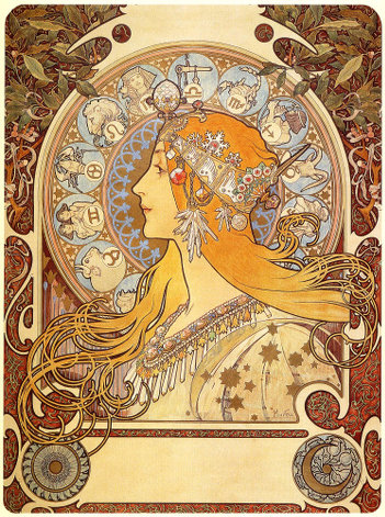 Alfons Mucha: Zodiac, Grafik 1896. Abbildung des Postermotivs.