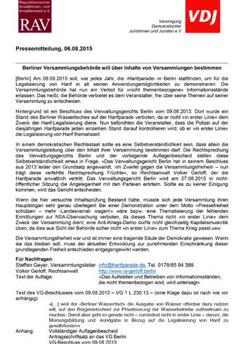 Pressemitteilung des RAV zur Hanfparade 2015