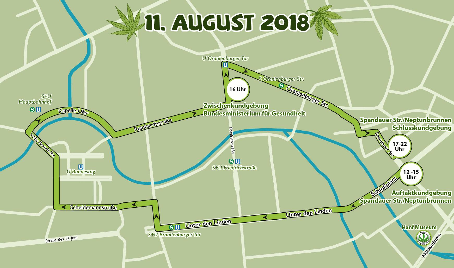 Route der Hanfparade 2018 in Berlin