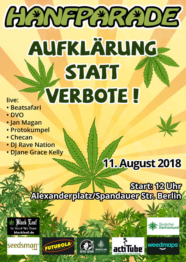 Grafik Flyer der Hanfparade 2018