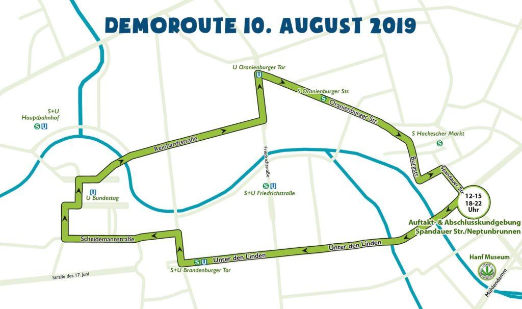 Grafik der Route der Hanfparade 2019